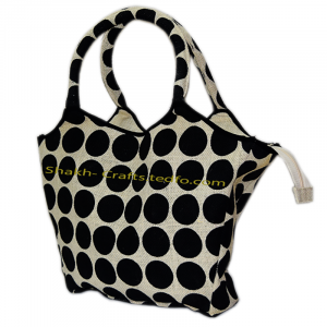 Ball Print Side Bag, Jute Made Product, Zipper System