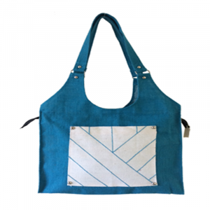 "Eco- friendly blue jute bag . Size 16.5""*15"", Lace Design"