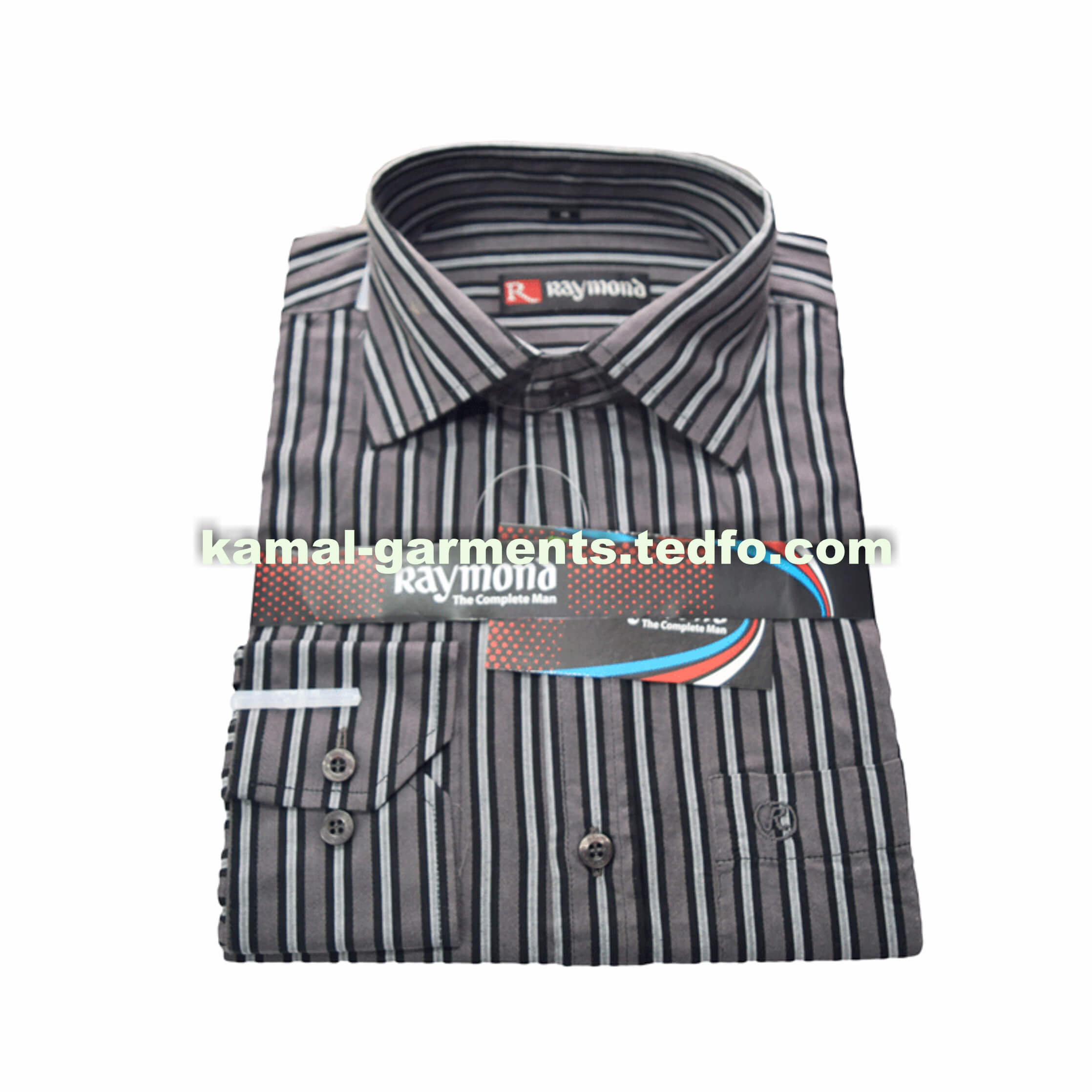 Ash Black White Striped Men's Long Sleeve Formal Shirt