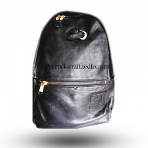Black Leather Knapsack, Backpack, haversack, rucksack
