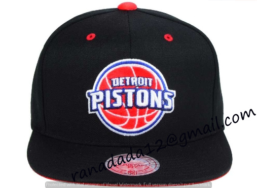 Detroit Pistons Mitchell and Ness NBA Solid Velour Logo Snapback Cap