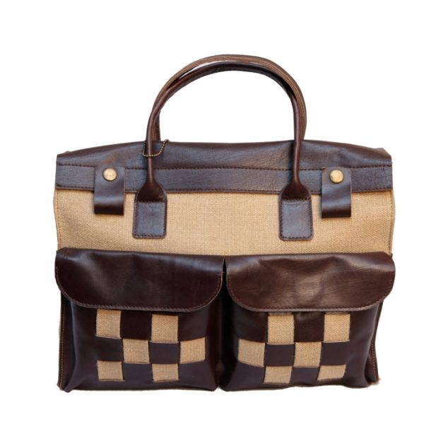 Leather and Jute Mix Executive Office Bag