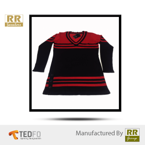 Red and Black striped sweater | Black - Red Color Combined |Women Woven Pullover , Free Style