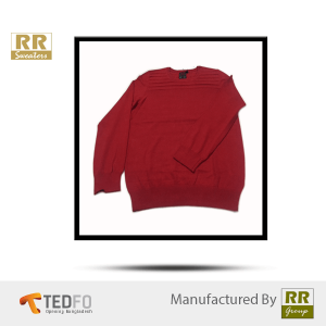 100% Cotton Red Boys Round Neck Sweaters