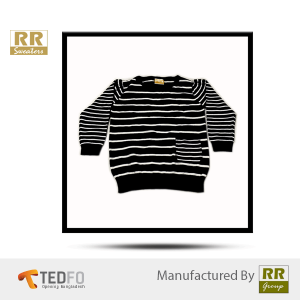 80/20 Viscose Nylon black and white striped sweater for Children