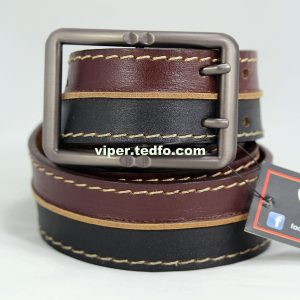 Deep Coffee and Black Leather Belt 84, Made in Bangladesh
