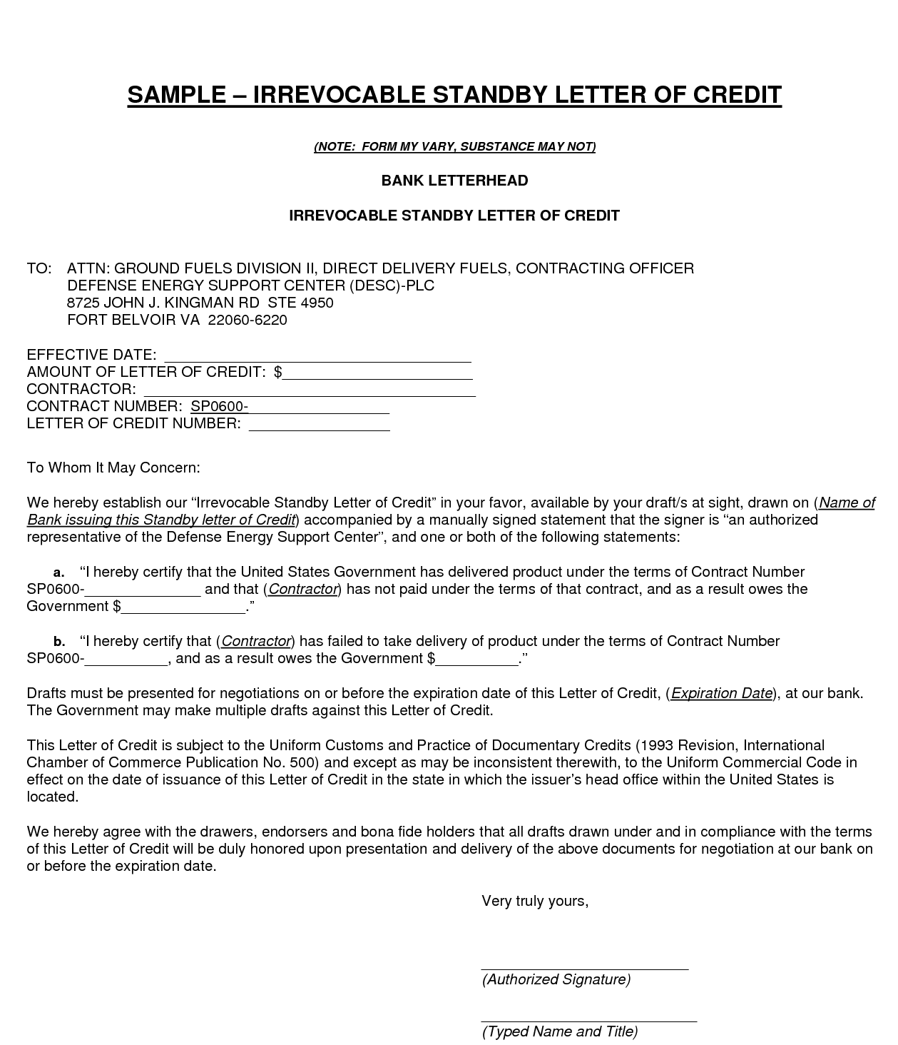 letter of credit from bank irrevocable lc tedfo 6630
