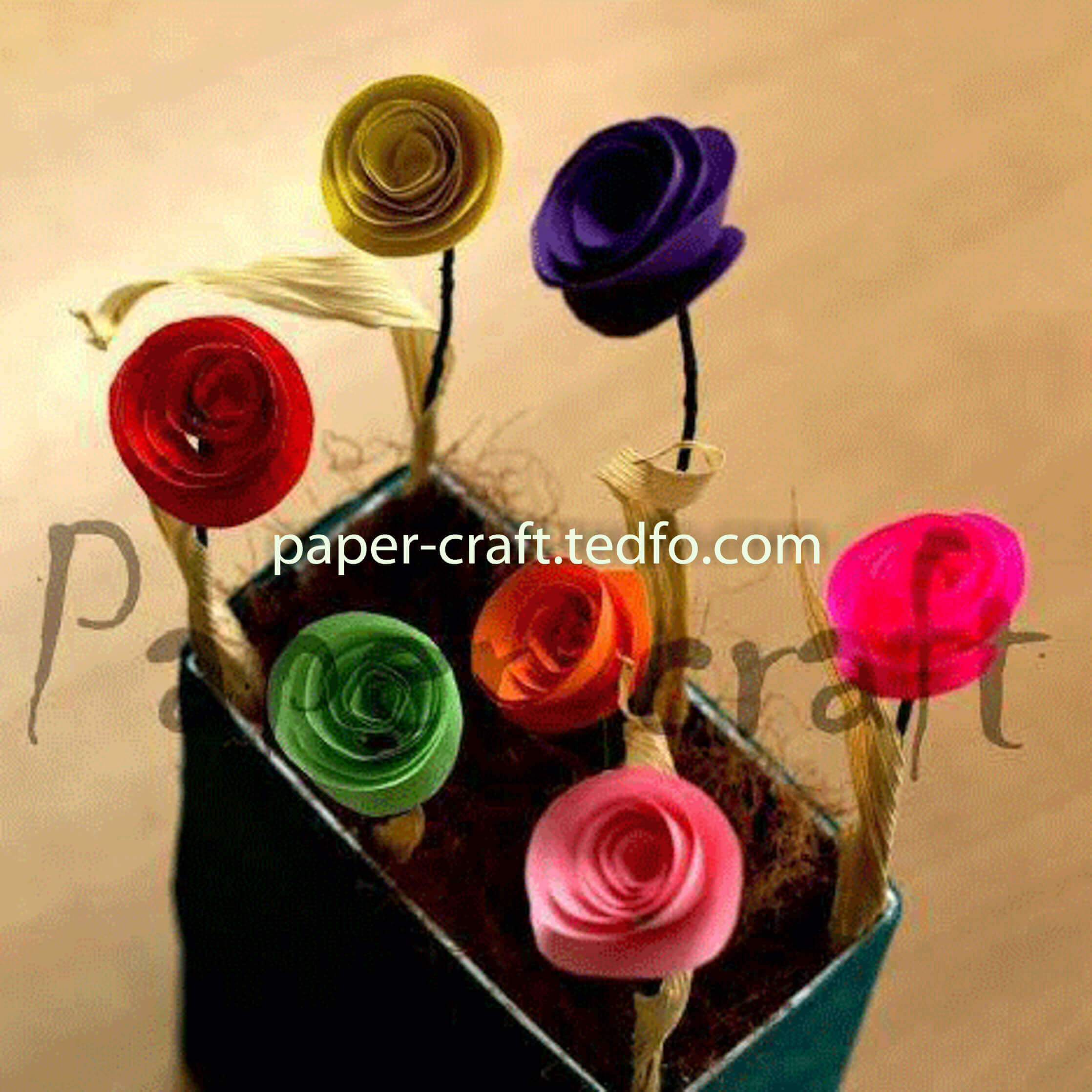 Handcrafted Paper Made Decorative Flower Vase Tedfo