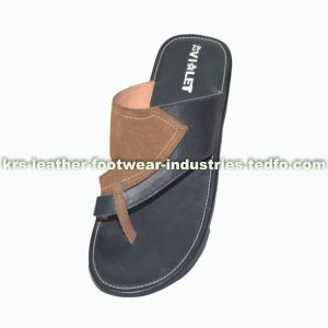 Black Brown Men's Flip Flop Leather Sandal