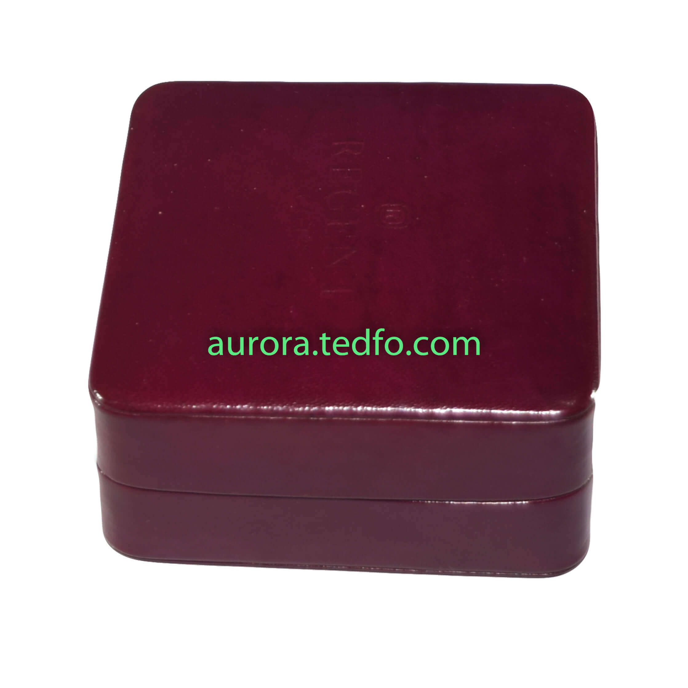 Square Shaped Jewelry Box,Watch Box,Red Colored,Real Leather